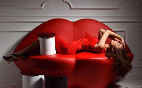 Picture girl, sofa, roses, petals, brown hair, in red