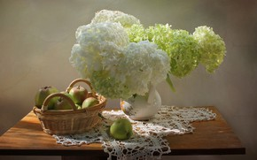 Picture summer, flowers, apples, still life, hydrangea
