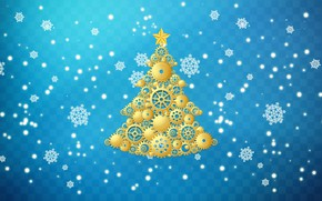 Picture Winter, Minimalism, Snow, New Year, Christmas, Snowflakes, Background, Tree, Holiday, Tree, Mechanism, Gear