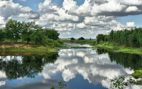 Picture clouds, nature, reflection, beauty