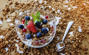 Picture berries, Breakfast, muesli, yogurt, granola, oatmeal, granola