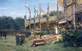 Picture oil, picture, canvas, genre, Presentation Of The Lombok Cross By Queen Wilhelmina, Mari ten Kate