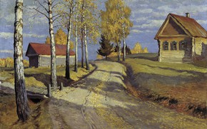 Picture road, trees, house, picture, Autumn Landscape, Michael Germashev