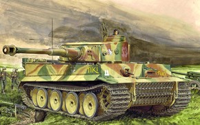 Picture Germany, art, tank, Heavy, The second World war, Machine gun, Tiger I, Ausf.E, Pz.Kpfw.VI, Sd.Car.181