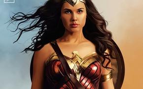 Wallpaper armor, Wonder Woman, shield, Diana, brunette, girl