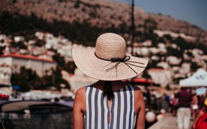 Picture girl, back, hat, dress