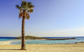 Picture sand, sea, beach, the sky, the sun, Palma, coast, horizon, resort, Cyprus, Ayia NAPA