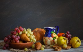 Picture grapes, fruit, still life, quince