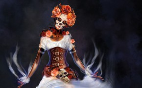 Picture flowers, woman, outfit, makeup, Until the death