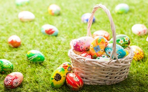 Picture Grass, Easter, Eggs, Basket, eggs, Holidays