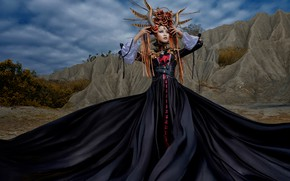 Wallpaper pose, style, decoration, outfit, headdress, girl, horns, dress, Asian