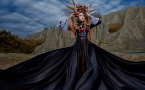 Wallpaper Asian, dress, horns, girl, headdress, outfit, decoration, style, pose