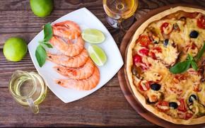 Picture wine, glass, food, lime, pizza, pizza, shrimp, prawns