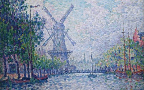 Picture landscape, picture, windmill, Paul Signac, pointillism, Morning on the Canal, Rotterdam. Windmill