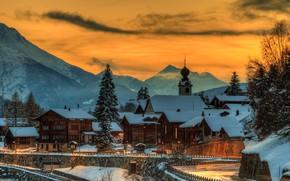 Wallpaper sunset, the sky, the evening, lights, Goms, home, trees, Blitzingen, winter, mountains, snow, Switzerland