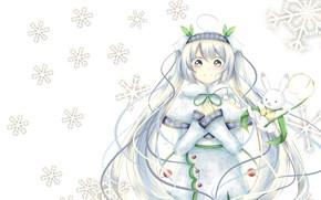 Picture anime, art, snowflake, Vocaloid. Miku., snow miku
