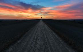 Wallpaper sunset, road, tree