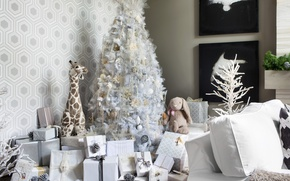 Picture holiday, toys, tree, new year, giraffe, gifts, tree, decor