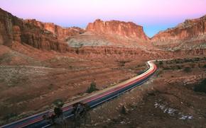 Wallpaper road, mountains, trail