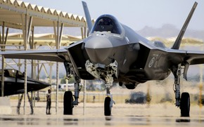 Picture USAF, UNITED STATES AIR FORCE, fighter-bomber, Lightning II, F-35, Lockheed Martin