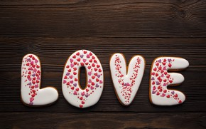 Picture love, romance, hearts, red, love, romantic, hearts, Valentine's Day, gift, cookies