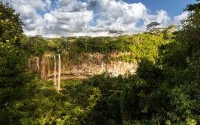 Picture greens, forest, the sky, the sun, clouds, trees, rock, tropics, waterfall, jungle, Mauritius, Chamarel Fall
