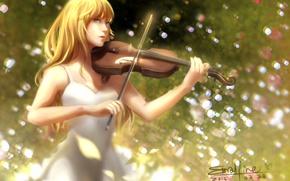 Picture girl, violin, anime, art, Shigatsu wa Kimi no Uso, Your April lie