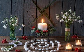 Wallpaper snowdrops, spiral, pebbles, candles, berries, flowers, style