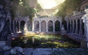 Picture vegetation, architecture, statues, pond, The Fall of Rome