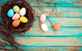 Picture basket, eggs, spring, colorful, Easter, wood, spring, Easter, eggs, decoration, Happy, tender