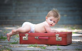 Picture surprise, baby, suitcase, diaper