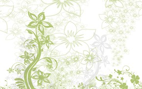 Picture leaves, flowers, curls, vector, texture