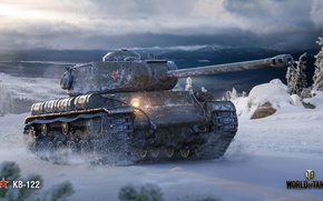 Wallpaper winter, WoT, World of Tanks, Soviet tank, KV-122, Wargaming
