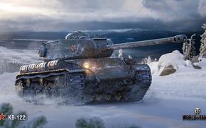 Wallpaper KV-122, winter, WoT, Wargaming, World of Tanks, Soviet tank