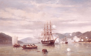 Wallpaper The steamer Medusa Breaks through the Strait, Jacob Eduard van Heemskerck of Big, seascape, picture