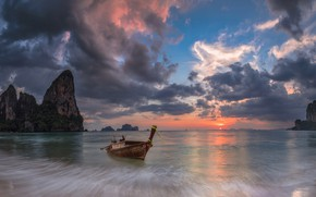 Picture sea, clouds, rocks, boat, Thailand, glow, Krabi