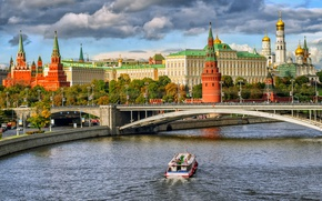 Picture bridge, river, Moscow, The Kremlin, Russia, Moscow, Kremlin
