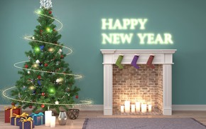 Picture decoration, room, tree, candles, New Year, gifts, Fireplace, New Year, Happy