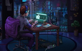 Wallpaper the room, computer, The World at Night, hacker
