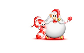 Wallpaper New year, mood, children's, Big Beard Santa and candy cane, Big Beard Santa and Candy ...