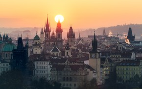 Picture the sun, home, Prague, Czech Republic, panorama
