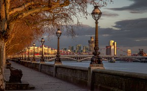 Wallpaper England, river, promenade, lights, River Thames, Chelsea Bridge, Chelsea Bridge, The River Thames, London, trees, ...