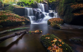Wallpaper autumn, leaves, river, stones, France, waterfall, cascade, France, Brittany, Brittany, Saint-Herbot