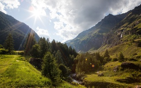 Picture mountains, France, Alps, the rays of the sun, Dormillouse, Ecrins