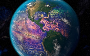 Wallpaper ocean currents, planet, satellite graphics, North America, South America, mainland