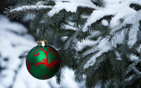 Picture winter, snow, holiday, tree, ball, ball, Christmas