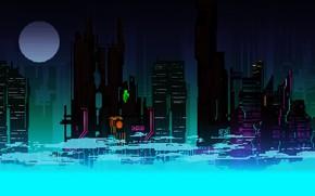 Picture The city, Future, The moon, Skyscrapers, Pixels, 8Bit, 8bit