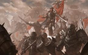 Picture swords, warriors, shields, axes, axes, War, monster