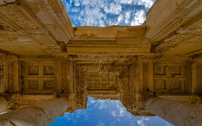 Wallpaper ruins, Ephesus, the sky, architecture, Turkey, the library of Celsus