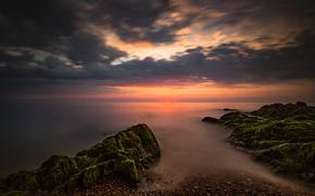 Picture sea, the sky, the sun, stones, dawn, coast, horizon, Ireland, Wicklow, Greystones